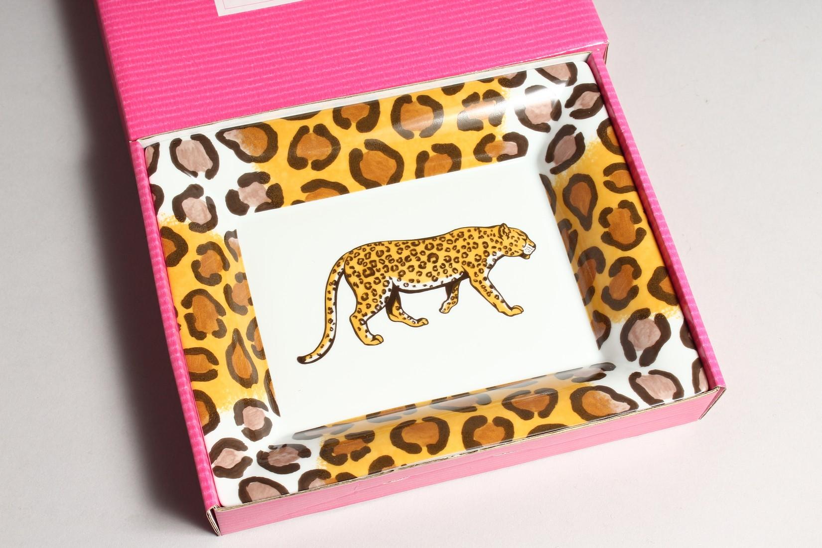 A PATRICIA DEROUBAIX LEMOGE LEOPARD ASH TRAY in a box. - Image 2 of 3