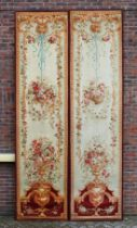 A GOOD PAIR OF LARGE EARLY/MID 20TH CENTURY BRUSSELS NEEDLEWORK PANELS, cream ground, decoration