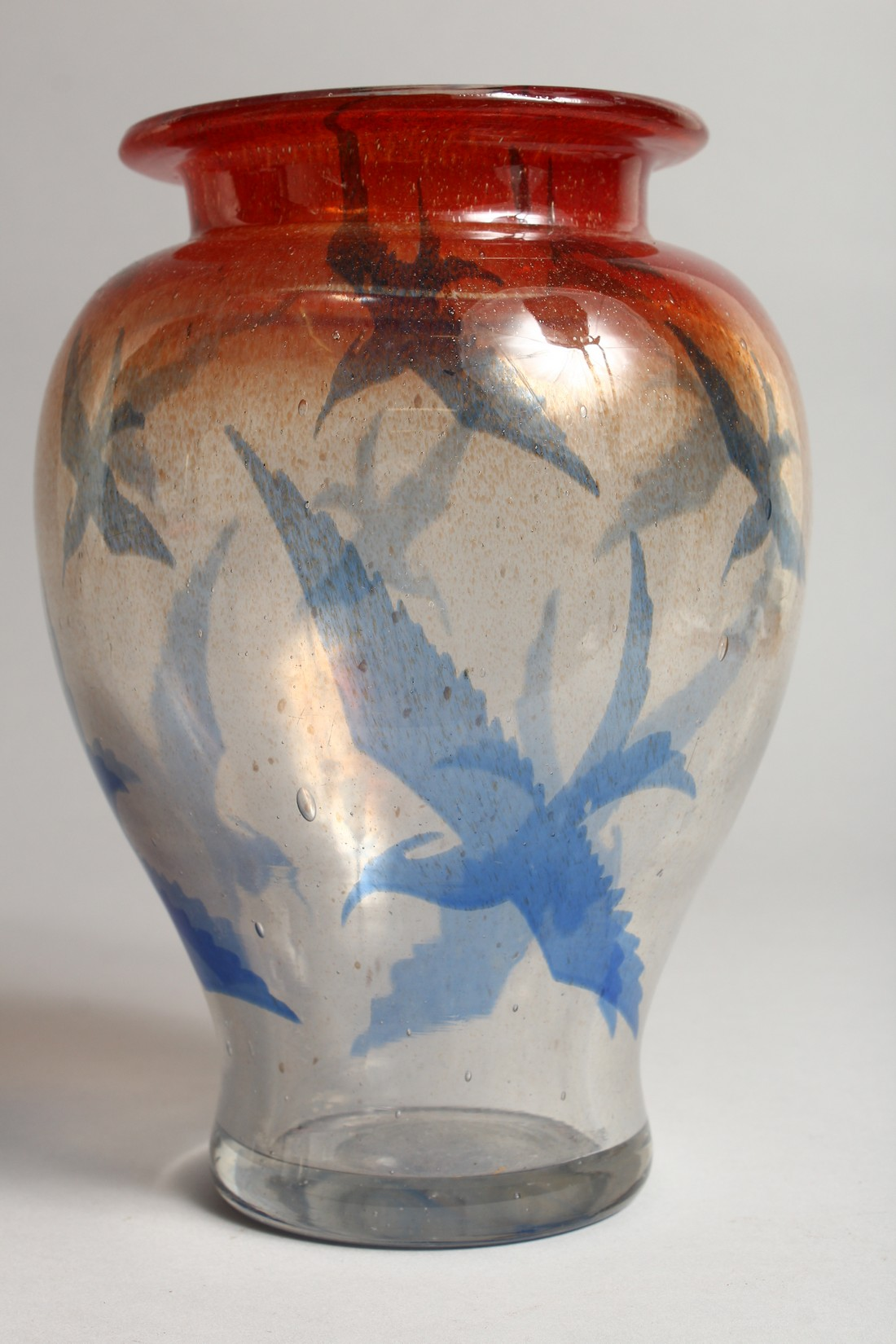 A DANISH ART GLASS VASE, CIRCA 1920, the orange and clear glass body decorated with birds 9.5ins - Image 3 of 6