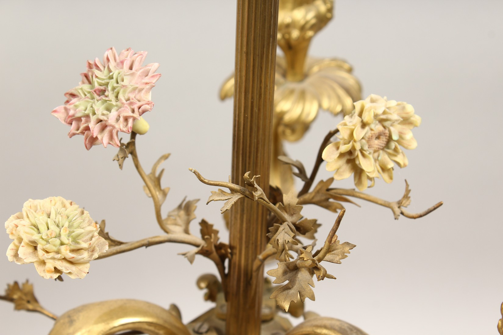 A GOOD PAIR OF FRENCH BRONZE THREE BRANCH CANDELABRA with scrolling arms and porcelain flowers 25ins - Image 3 of 5