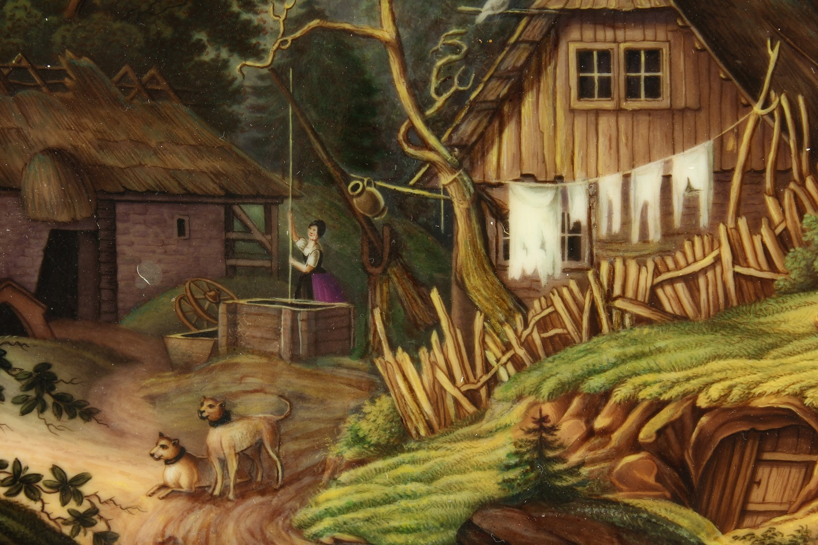 A GOOD K. P. M. PORCELAIN PLAQUE, rural scene, a woman hanging out the washing, a castle amidst - Image 2 of 4