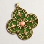 A SUPERB 18 CT GOLD JADEITE AND CORAL PENDANT.