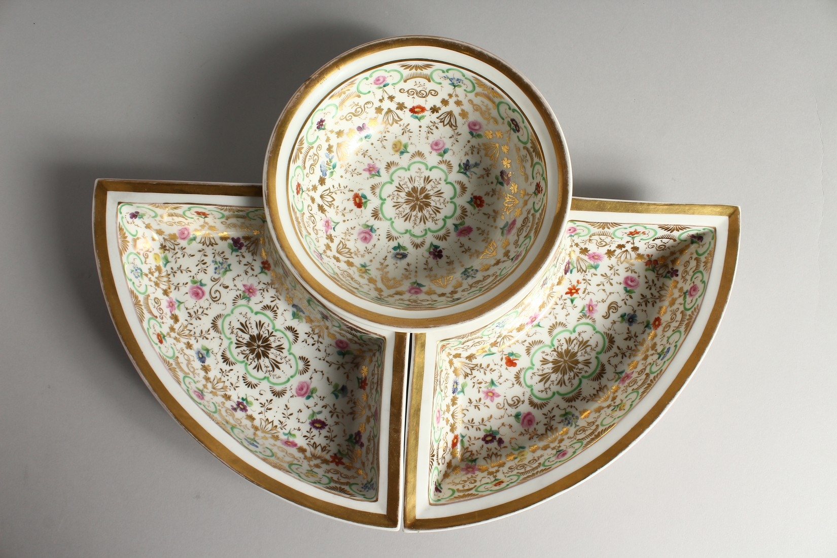A K. P. M. PORCELAIN CIRCULAR BOWL with gilt decoration and painted with flowers. 7ins diameter - Image 3 of 9
