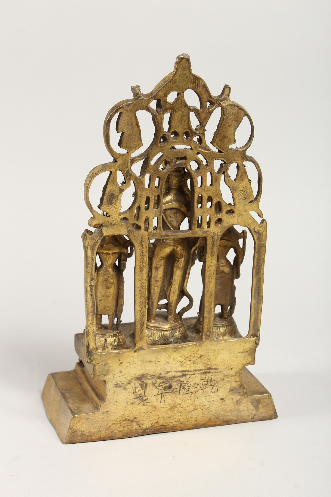 A CHINESE GILT BRONZE FIGURAL SHRINE 11ins high - Image 3 of 4