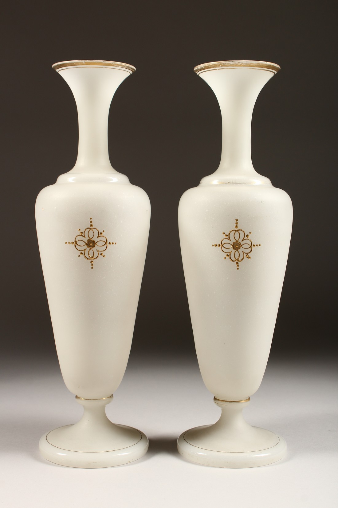 A PAIR OF CAMEO CLASSIC FROSTED VASES with a black cameo with gilt decorations 12ins high. - Image 3 of 10