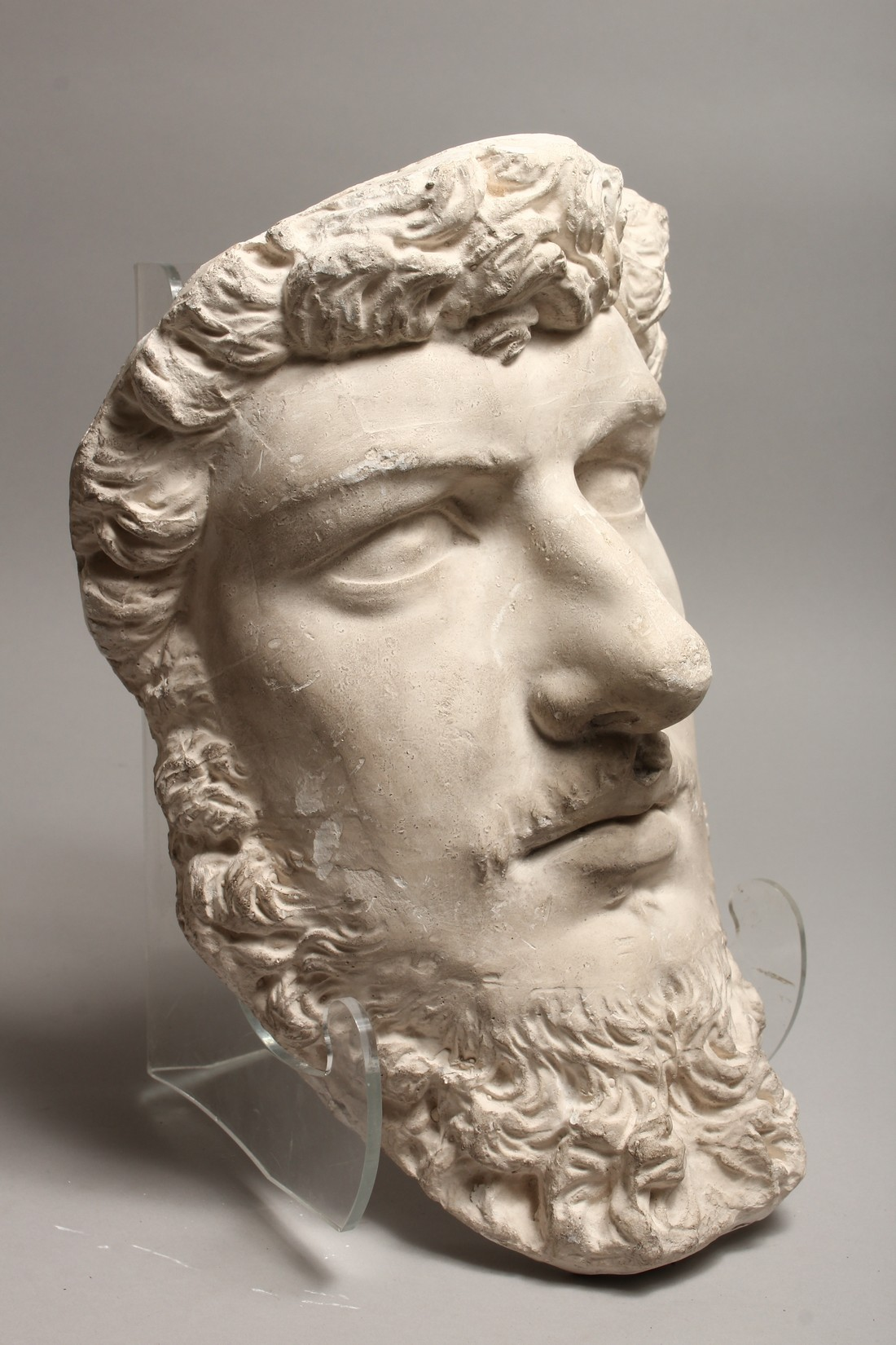 A RUSSIAN LARGE PLASTER HEAD OF A MAN 14ins long - Image 2 of 4