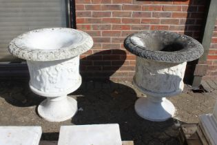 A VERY GOOD PAIR OF ITALIAN CARVED WHITE MARBLE CAMPAGNA URNS ON STANDS 2ft 5ins high stand 2ft