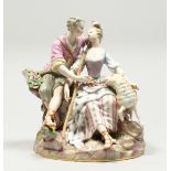 A GOOD LARGE MEISSEN PORCELAIN GROUP OF LOVERS, a lamb by her side holding a staff, the man's hat
