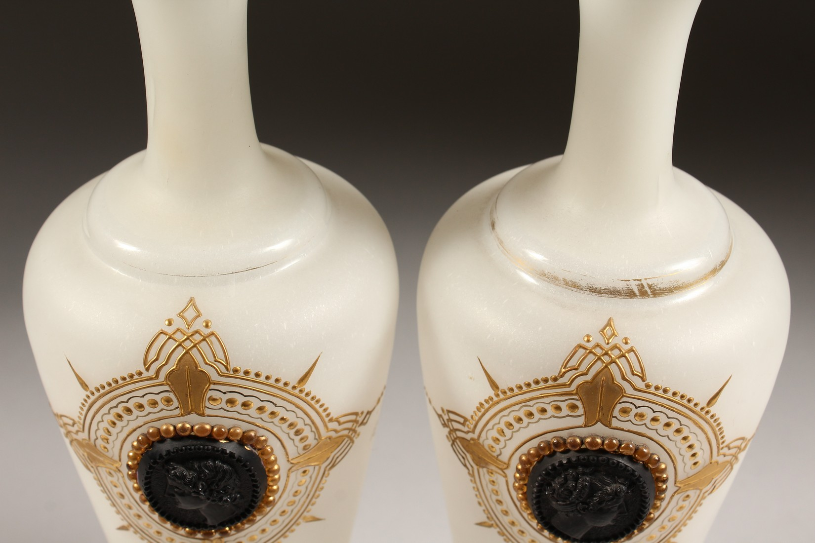 A PAIR OF CAMEO CLASSIC FROSTED VASES with a black cameo with gilt decorations 12ins high. - Image 6 of 10