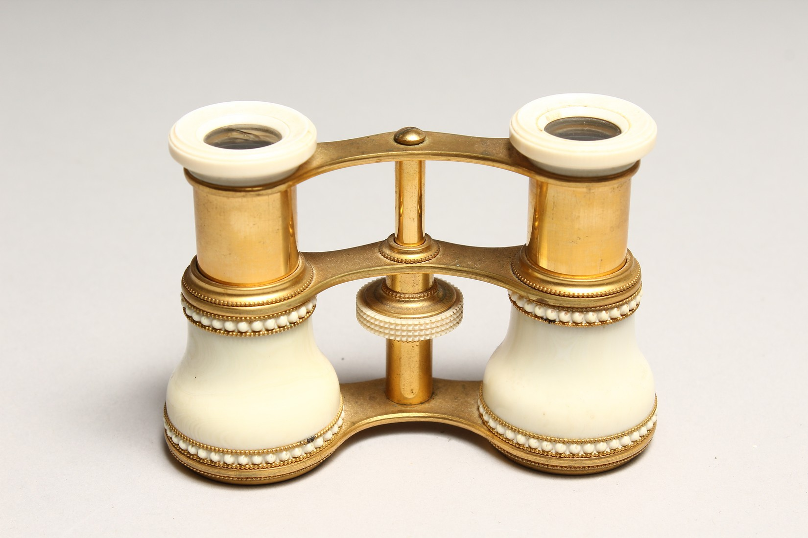 A PAIR OF IVORY AND GILT OPERA GLASSES 4.6ins long. - Image 6 of 6