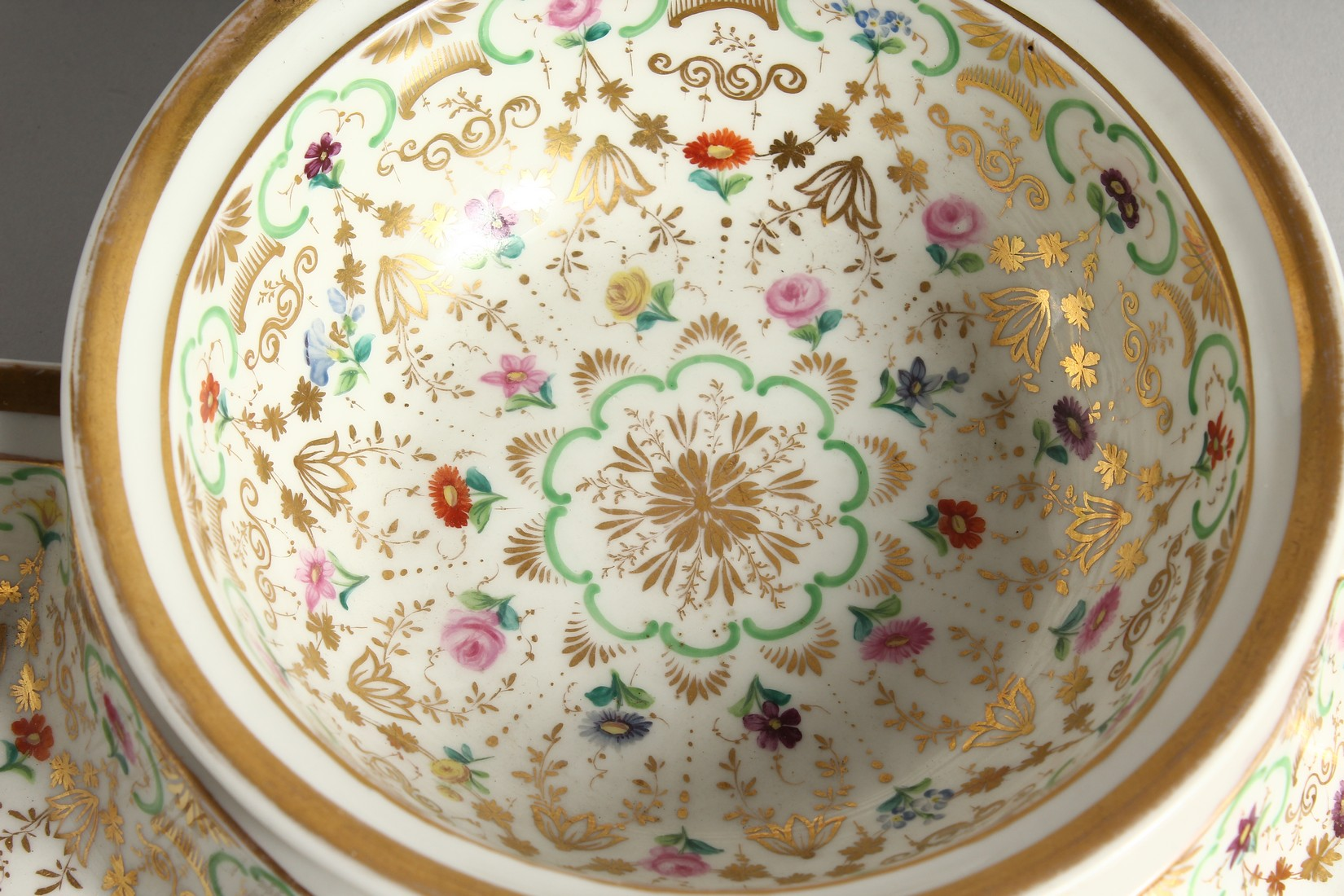A K. P. M. PORCELAIN CIRCULAR BOWL with gilt decoration and painted with flowers. 7ins diameter - Image 4 of 9