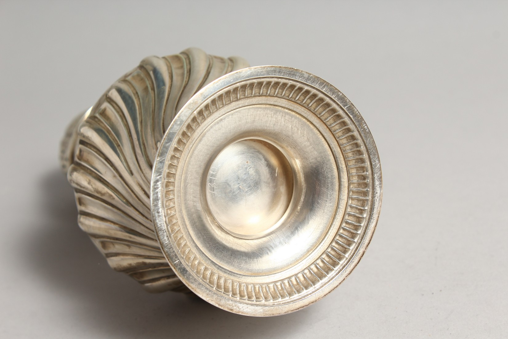 A LARGE SILVER PEDESTAL SUGAR CASTER, with wrythen fluted body, London 1894, 9.75ins high. - Image 7 of 7