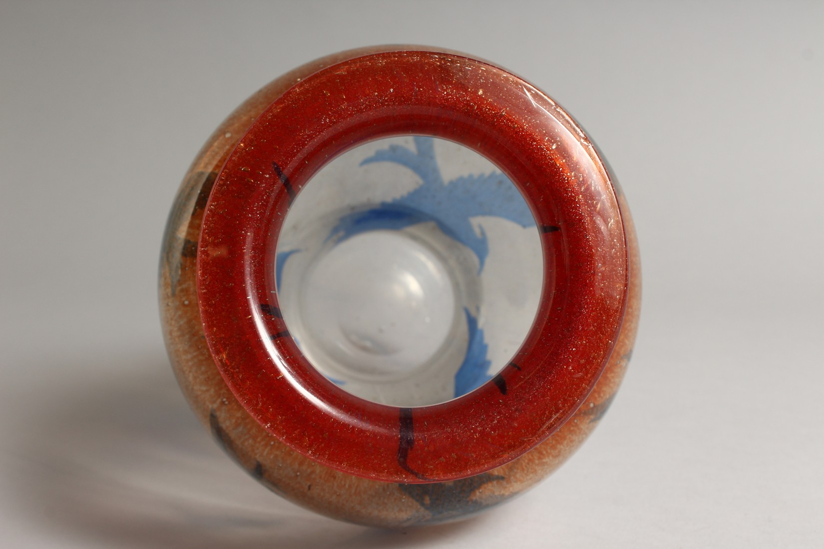 A DANISH ART GLASS VASE, CIRCA 1920, the orange and clear glass body decorated with birds 9.5ins - Image 5 of 6