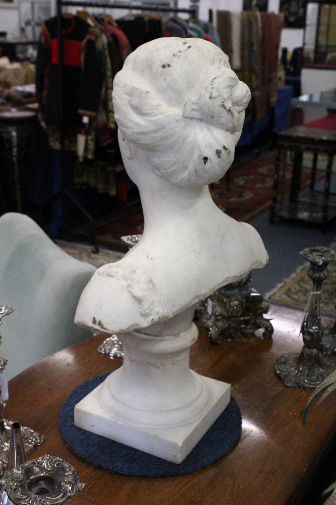 A GOOD 19TH CENTURY CARVED WHITE MARBLE BUST OF A LADY, ON A STAND. 2ft high. - Image 2 of 3