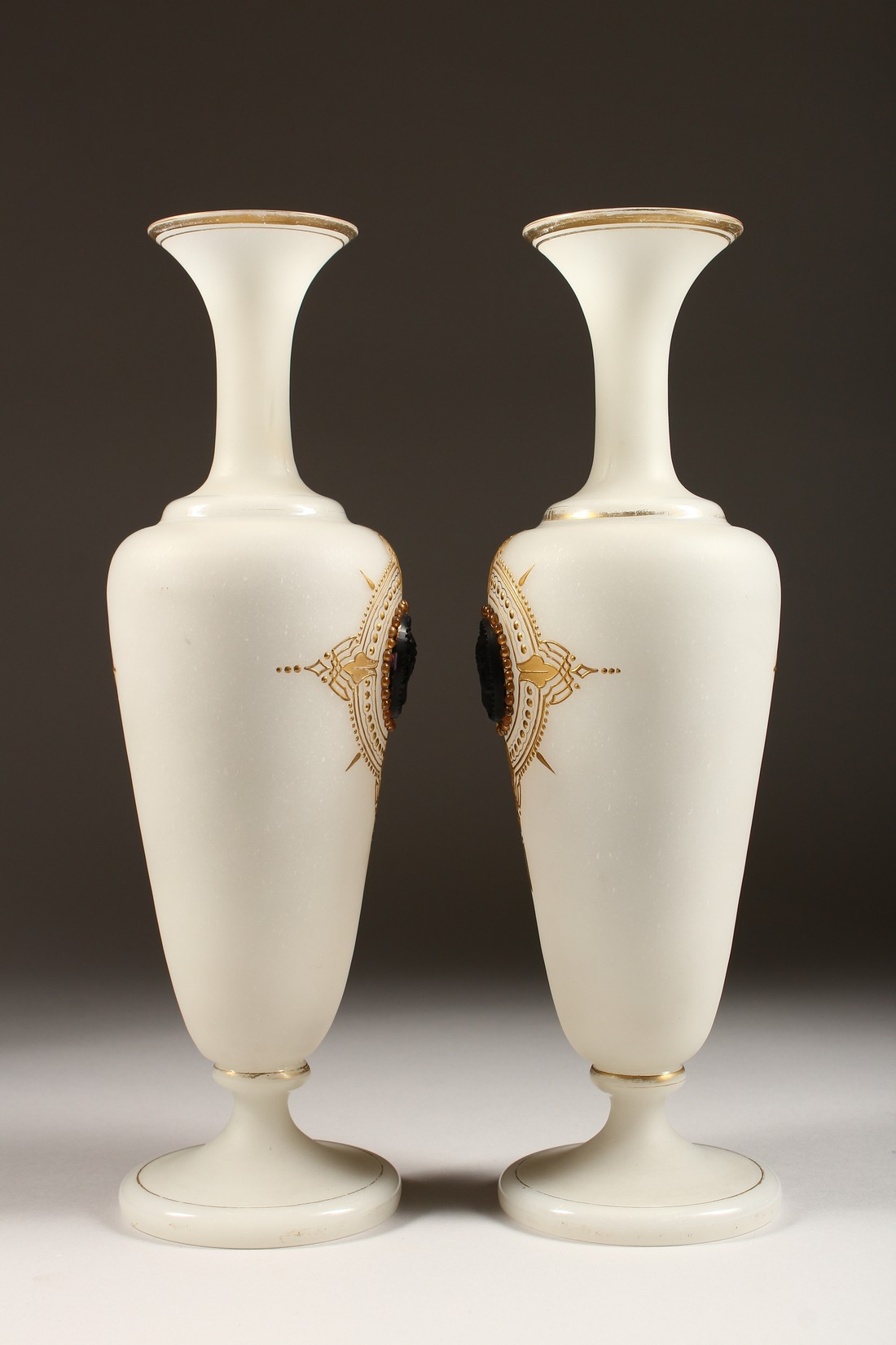 A PAIR OF CAMEO CLASSIC FROSTED VASES with a black cameo with gilt decorations 12ins high. - Image 2 of 10
