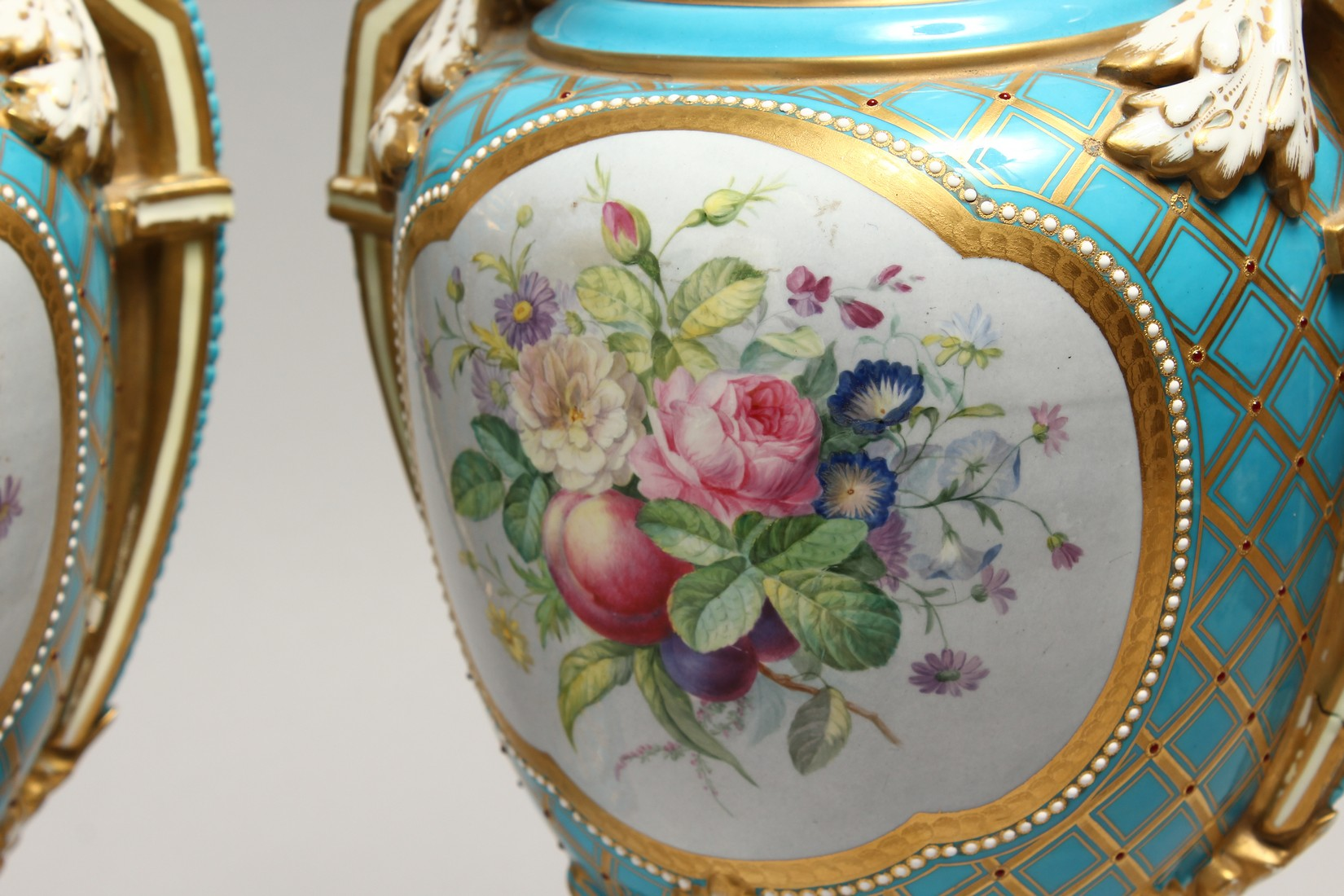 A SUPERB LARGE PAIR OF SEVRES TWO HANDLED URN SHAPED VASES AND COVERS, blue ground edged in gilt and - Image 7 of 10