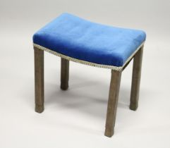 A GEORGE VI CORONATION STOOL with blue velvet seat by B North & Son. 1ft 8ins high, 1ft 3ins deep