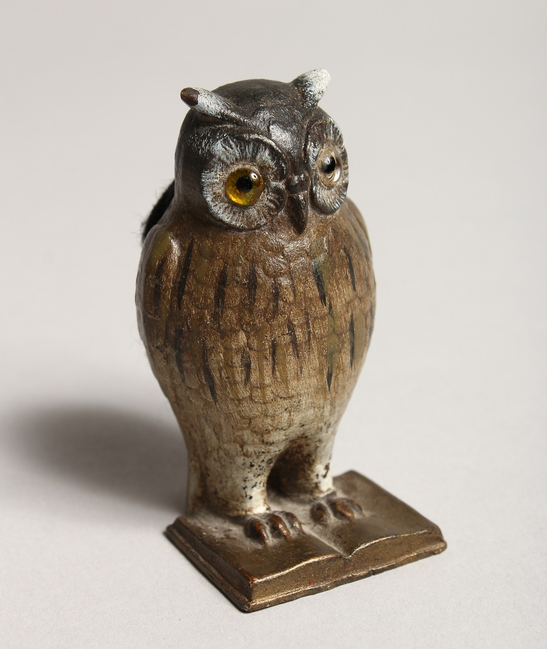 A COLD PAINTED OWL PIN CUSHION 2.5ins high