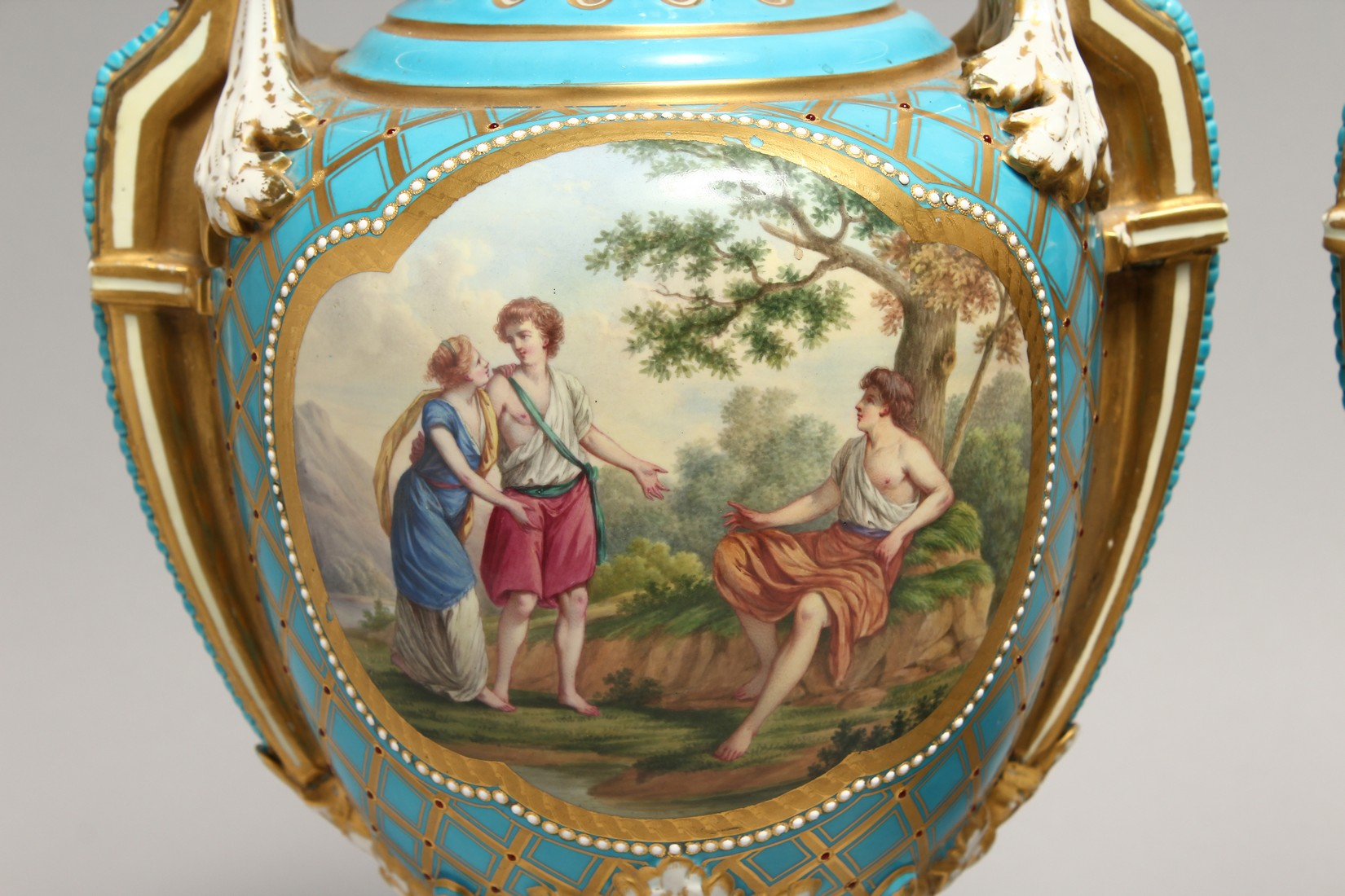 A SUPERB LARGE PAIR OF SEVRES TWO HANDLED URN SHAPED VASES AND COVERS, blue ground edged in gilt and - Image 2 of 10