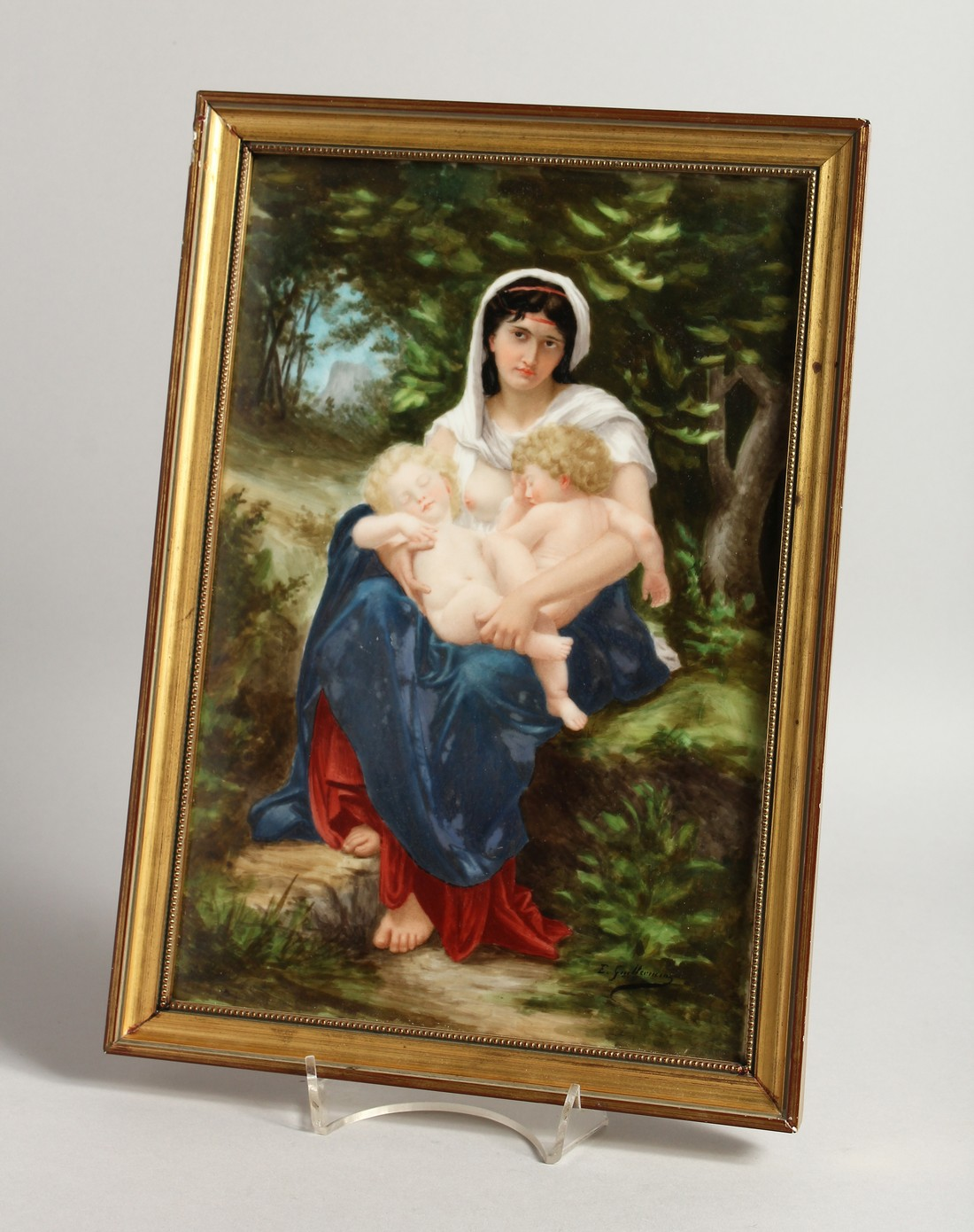 A VERY GOOD GERMAN PORCELAIN PLAQUE, Madonna and child 11.25 x 7.5ins