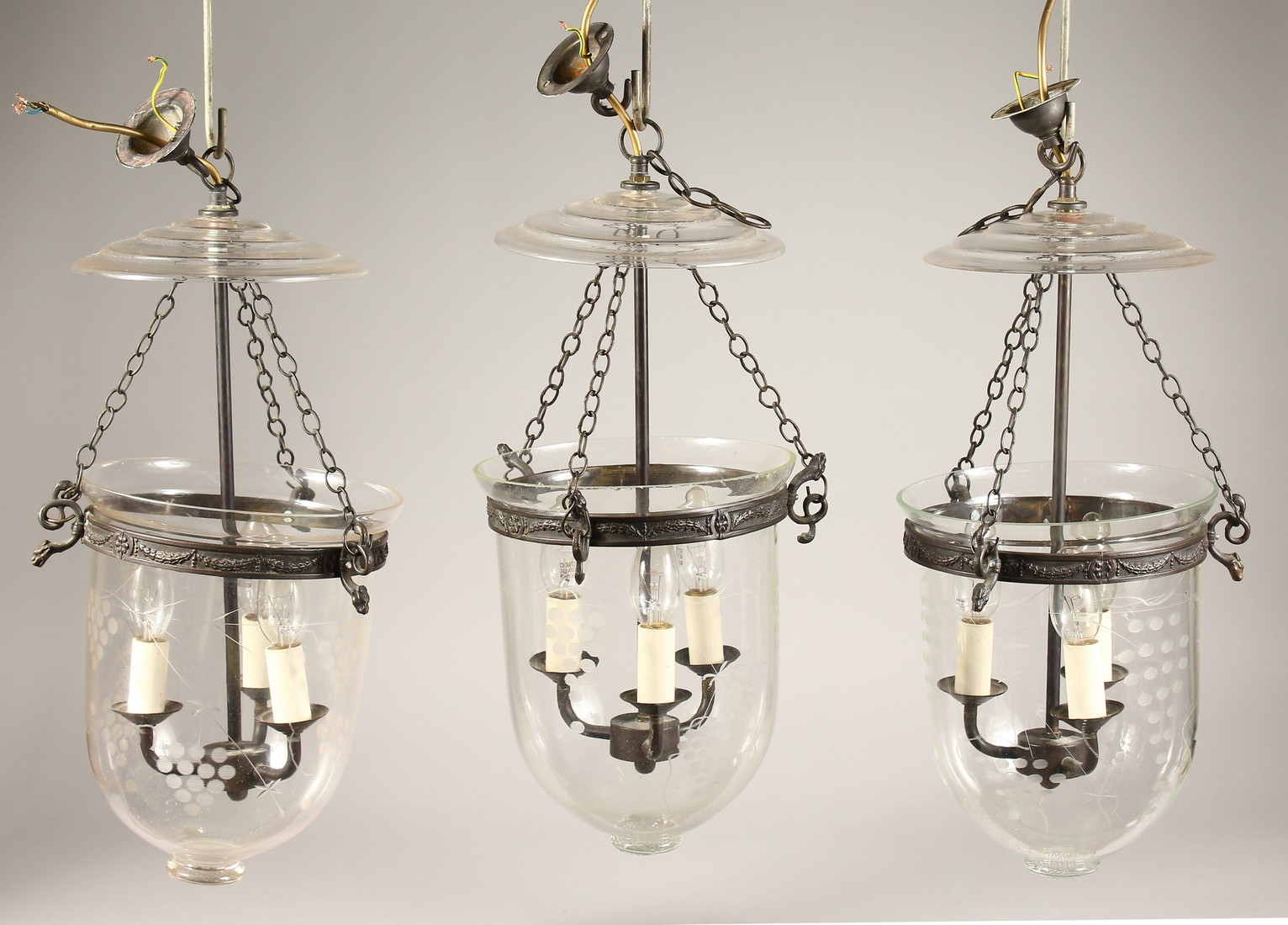 A SET OF THREE ETCHED GLASS AND METAL THREE LIGHT HANGING LANTERNS 20ins high. - Image 2 of 6
