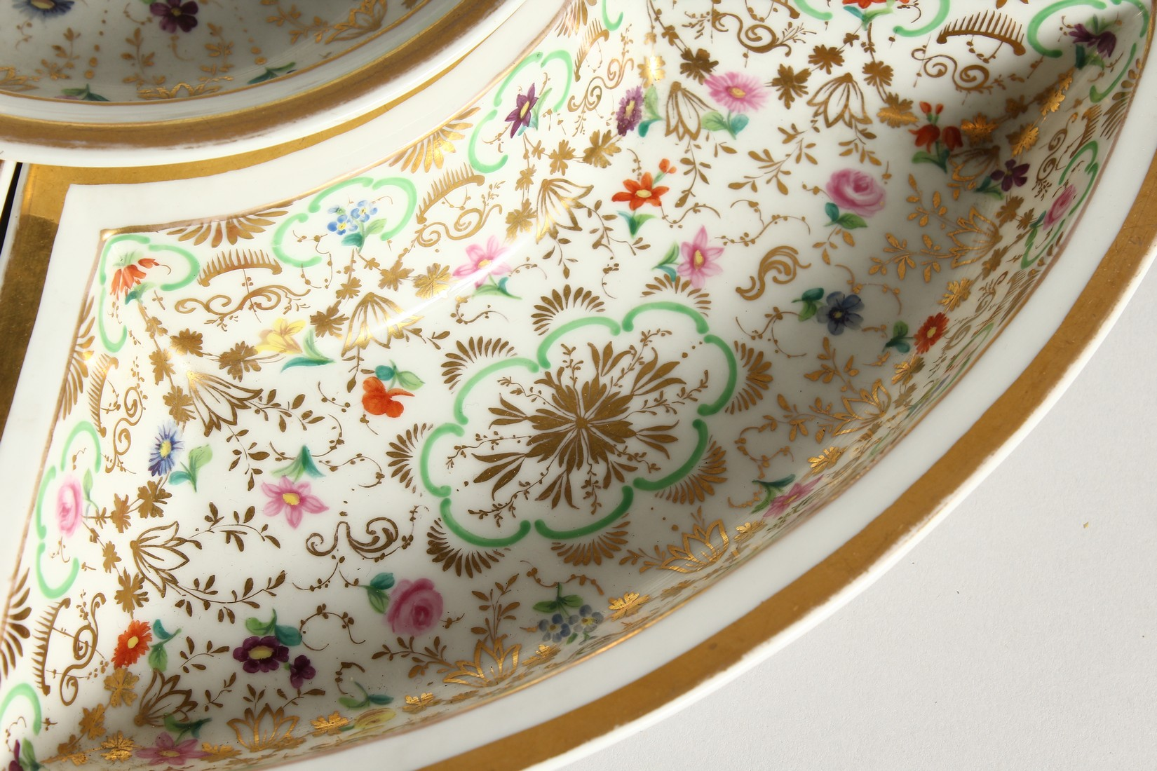 A K. P. M. PORCELAIN CIRCULAR BOWL with gilt decoration and painted with flowers. 7ins diameter - Image 6 of 9