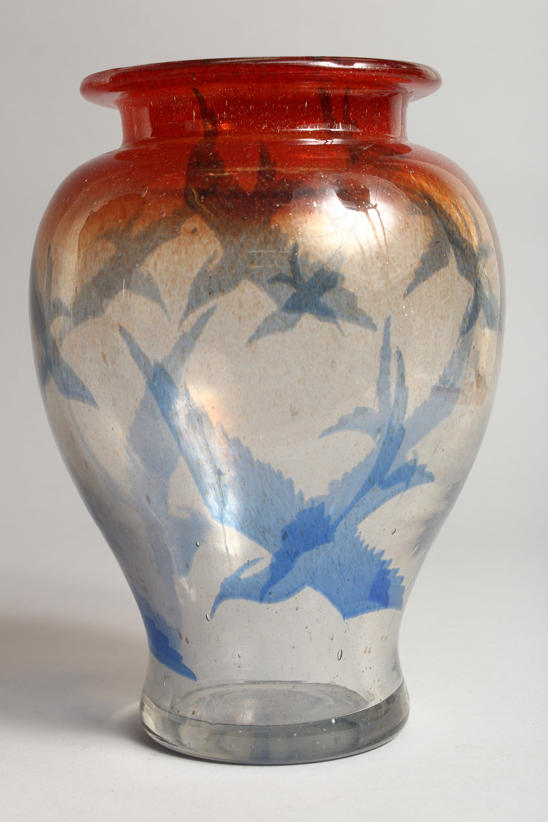 A DANISH ART GLASS VASE, CIRCA 1920, the orange and clear glass body decorated with birds 9.5ins - Image 2 of 6
