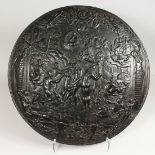 AN IMPRESSIVE CLASSICAL STYLE CAST IRON CIRCULAR PLAQUE, decorated with Greek mythological figures