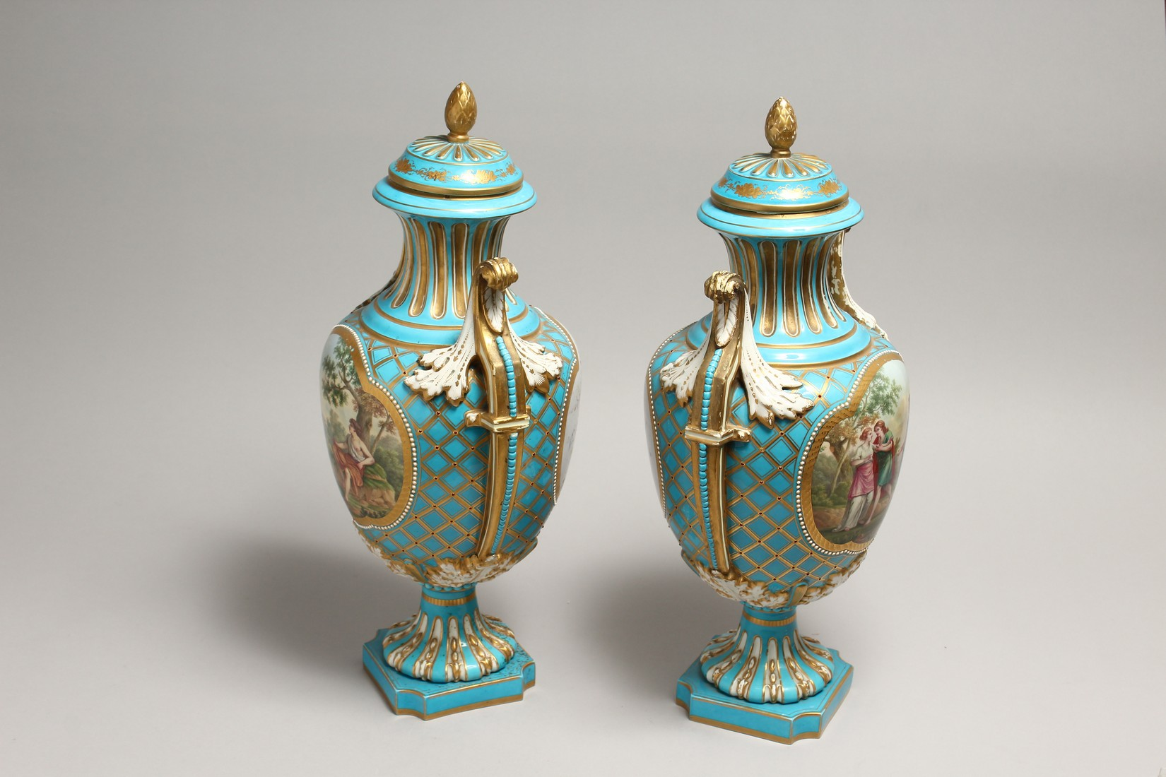 A SUPERB LARGE PAIR OF SEVRES TWO HANDLED URN SHAPED VASES AND COVERS, blue ground edged in gilt and - Image 8 of 10