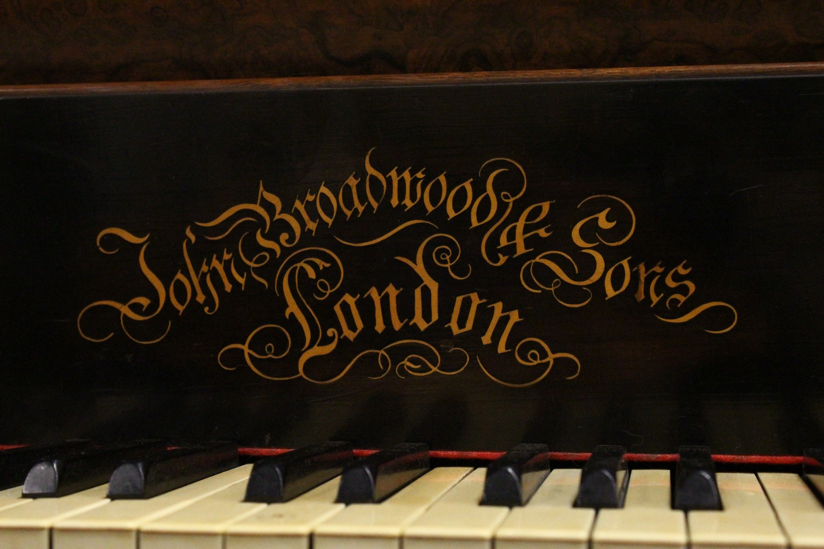 JOHN BROADWOOD & SONS, A good late 19th Centruy figured walnut Grand Piano, on turned and tapering - Image 3 of 19