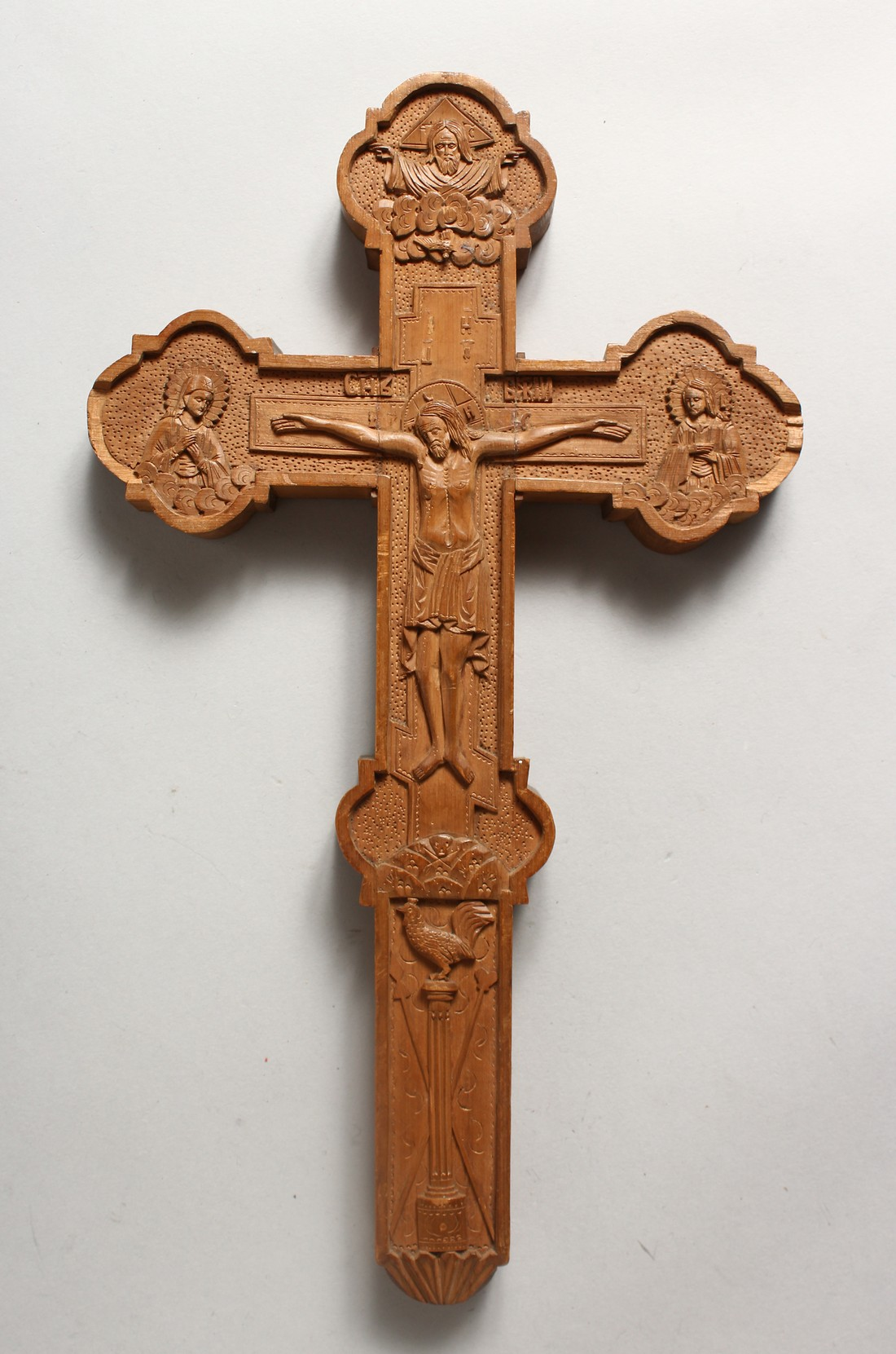 A 19TH CENTURY ORTHODOX CARVED SANDLEWOOD CRUIFIX 12.5ins high x 7.25ins wide
