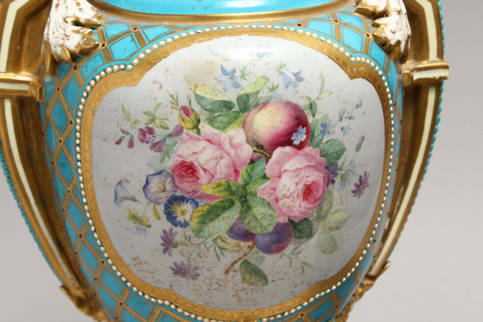 A SUPERB LARGE PAIR OF SEVRES TWO HANDLED URN SHAPED VASES AND COVERS, blue ground edged in gilt and - Image 6 of 10