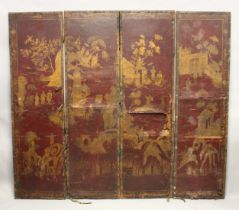 A GEORGE III LEATHER CHINESE DECORATED FOUR FOLD SCREEN. 6ft 2ins high, each panel, 1ft 9ins wide.