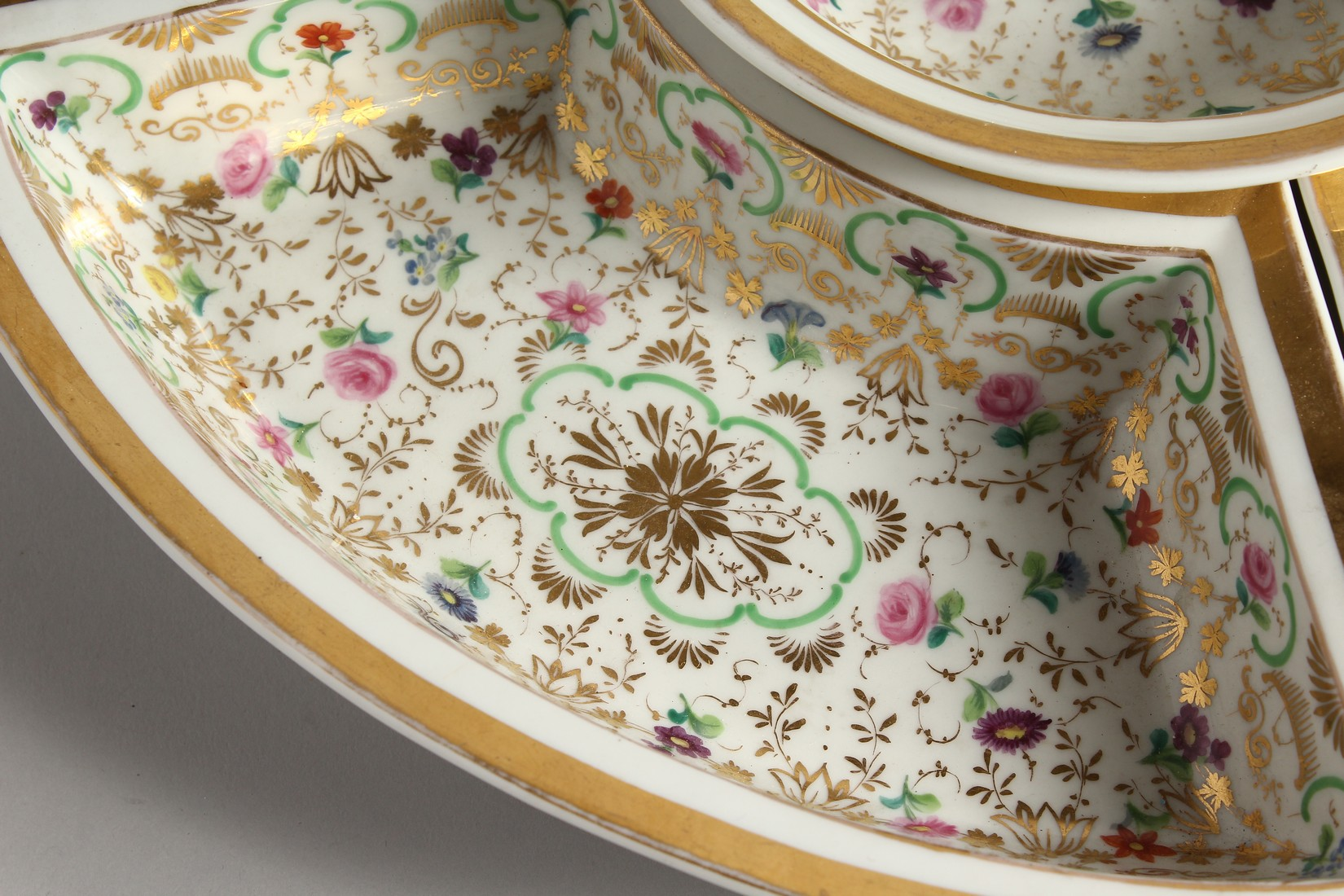 A K. P. M. PORCELAIN CIRCULAR BOWL with gilt decoration and painted with flowers. 7ins diameter - Image 5 of 9