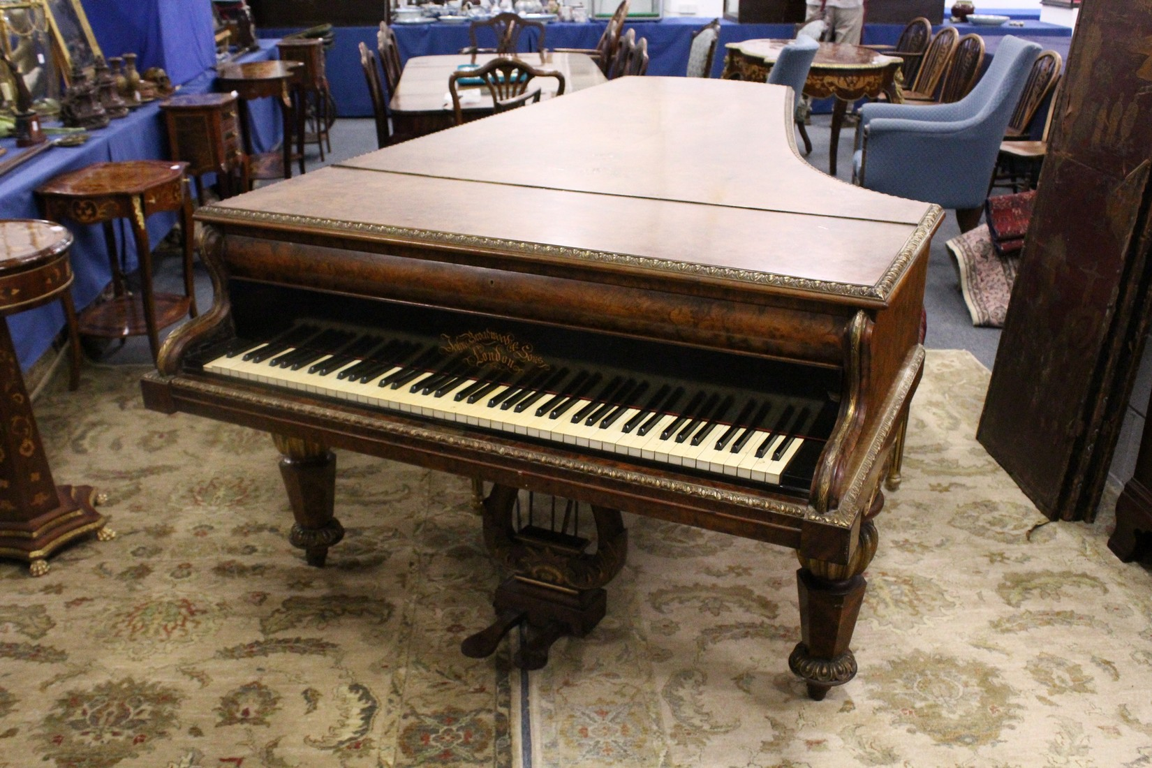 JOHN BROADWOOD & SONS, A good late 19th Centruy figured walnut Grand Piano, on turned and tapering