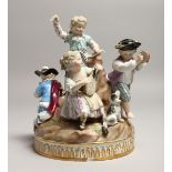 A SUPERB 19TH CENTURY MEISSEN CIRCULAR GROUP OF FIVE CHILDREN on a rock with a dog, depicting