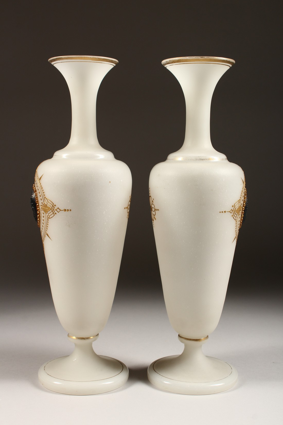 A PAIR OF CAMEO CLASSIC FROSTED VASES with a black cameo with gilt decorations 12ins high. - Image 4 of 10