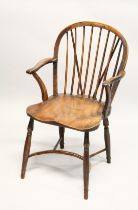 A GOOD YEW WOOD AND ELM WINDSOR ARM CHAIR