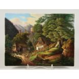 A GOOD K. P. M. PORCELAIN PLAQUE, rural scene, a woman hanging out the washing, a castle amidst
