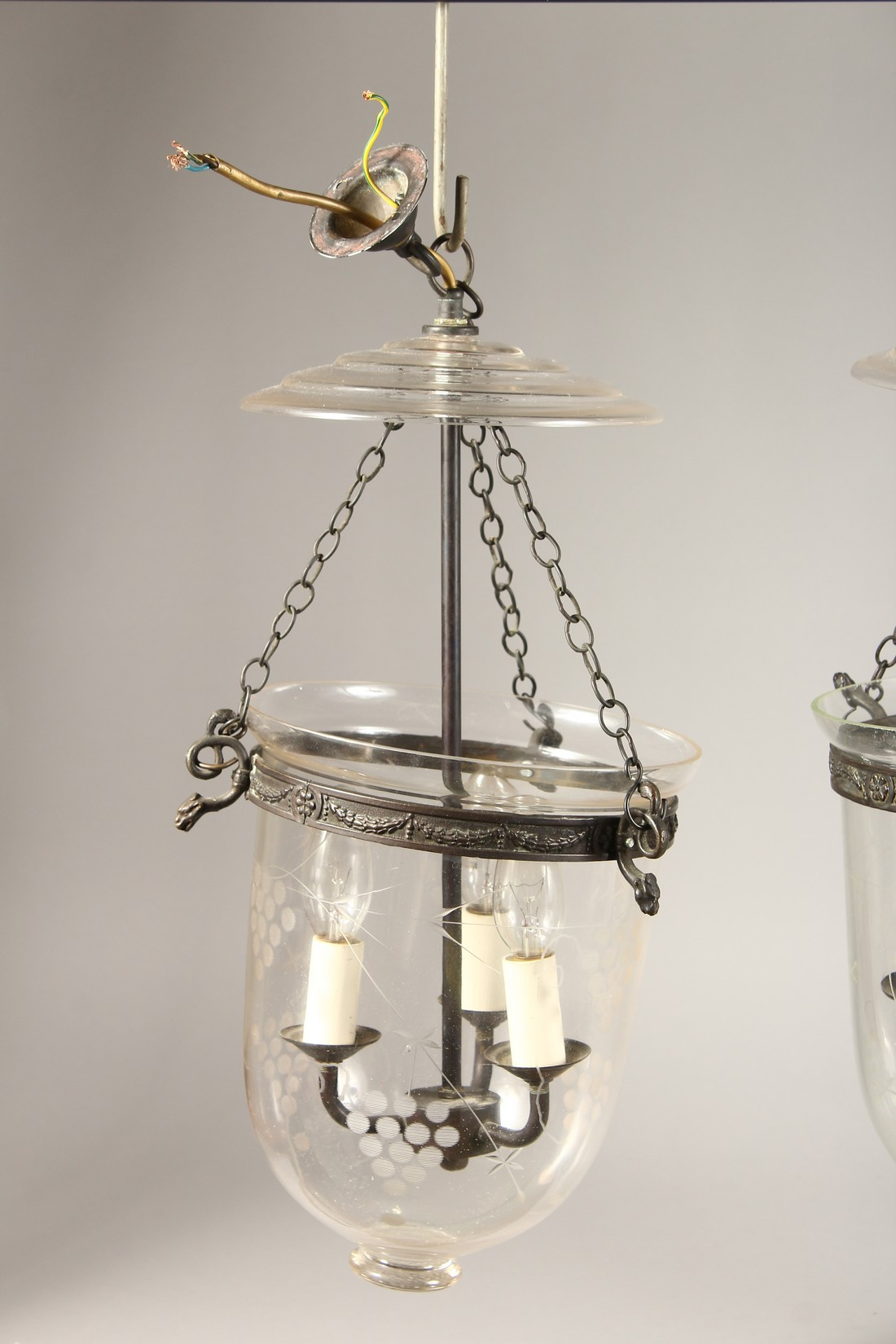 A SET OF THREE ETCHED GLASS AND METAL THREE LIGHT HANGING LANTERNS 20ins high. - Image 3 of 6