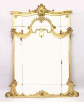 A SUPERB LARGE 19TH CENTURY GILT WOOD MIRROR, sectional mirror panels with shell and acanthus