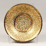 A GOOD MOSER BLUE GLASS CIRCULAR DISH with gilt interior and enamel flowers 12ins diameter.