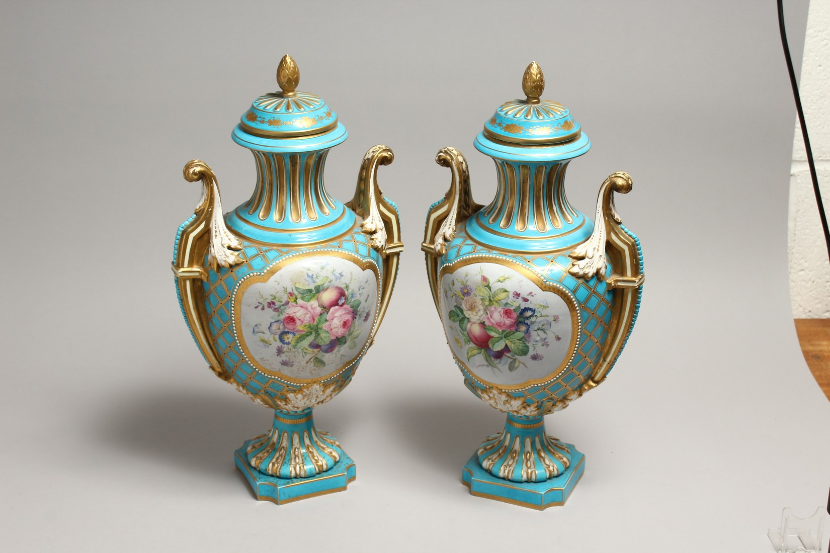 A SUPERB LARGE PAIR OF SEVRES TWO HANDLED URN SHAPED VASES AND COVERS, blue ground edged in gilt and - Image 5 of 10