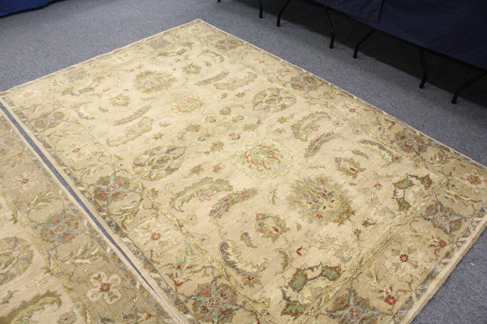 A PAIR OF INDIAN CARPETS, 20TH CENTURY, beige ground with stylised leaf and flowers decoration 8ft - Image 3 of 5