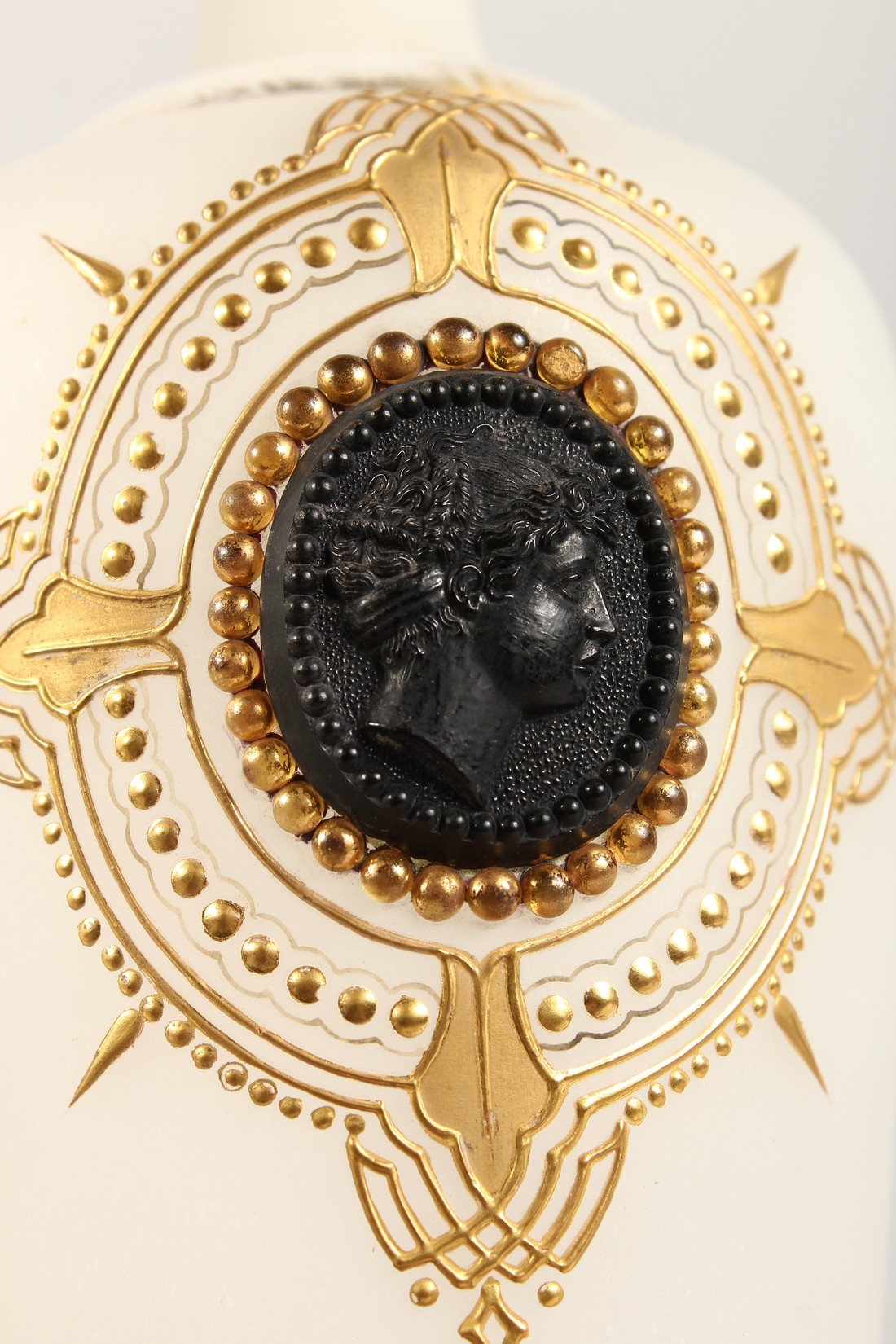 A PAIR OF CAMEO CLASSIC FROSTED VASES with a black cameo with gilt decorations 12ins high. - Image 8 of 10