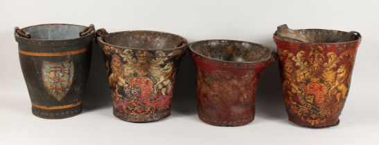 FOUR EARLY 18TH CENTURY LEATHER FIRE BUCKETS with various coat of arms.