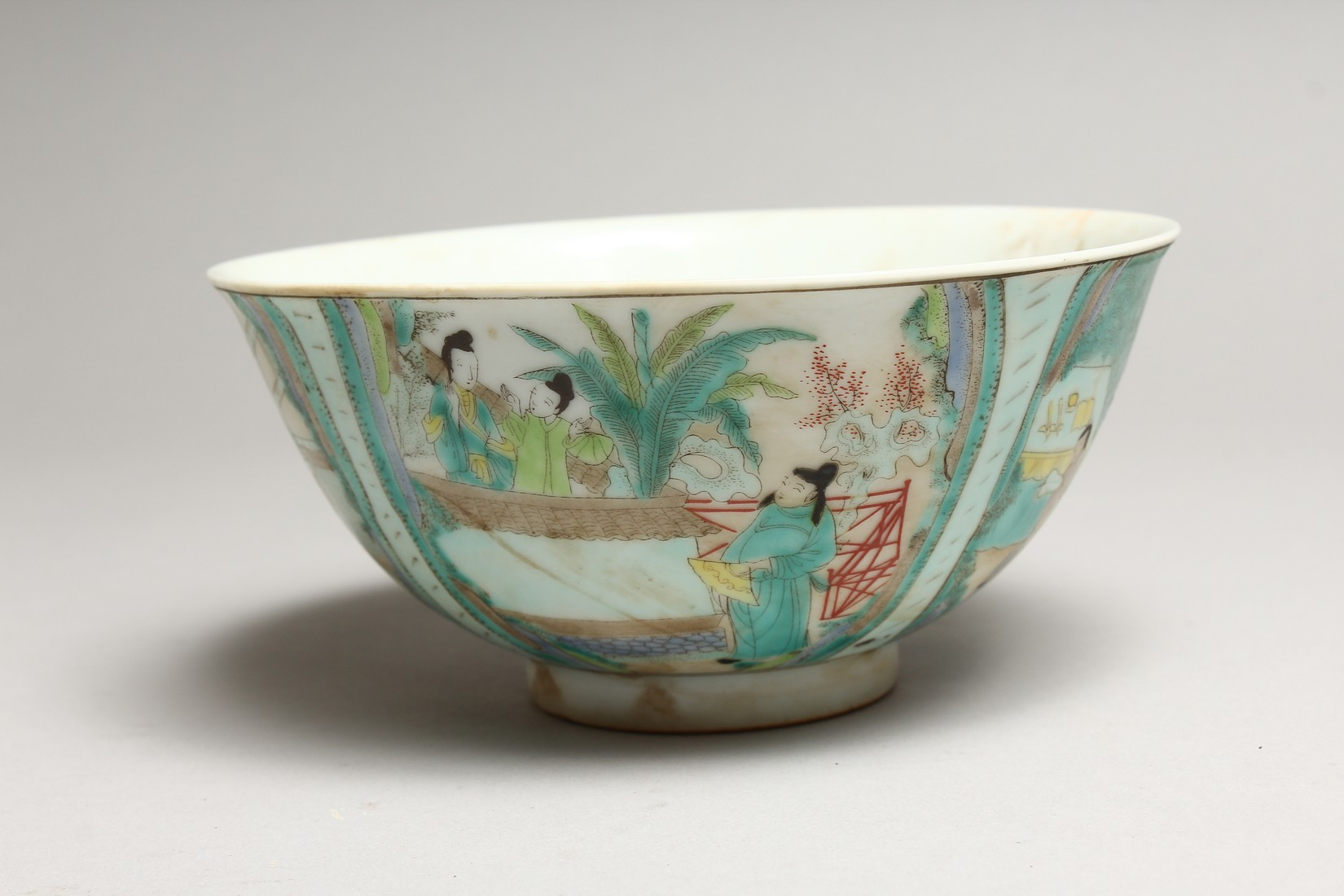 A CHINESE FAMILLE VERTE PORCELAIN BOWL, painted with figures in a landscape. 6.25ins diameter. - Image 2 of 6