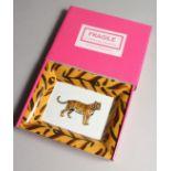A PATRICIA DEROUBAIX LIMOGE TIGER ASH TRAY in a box
