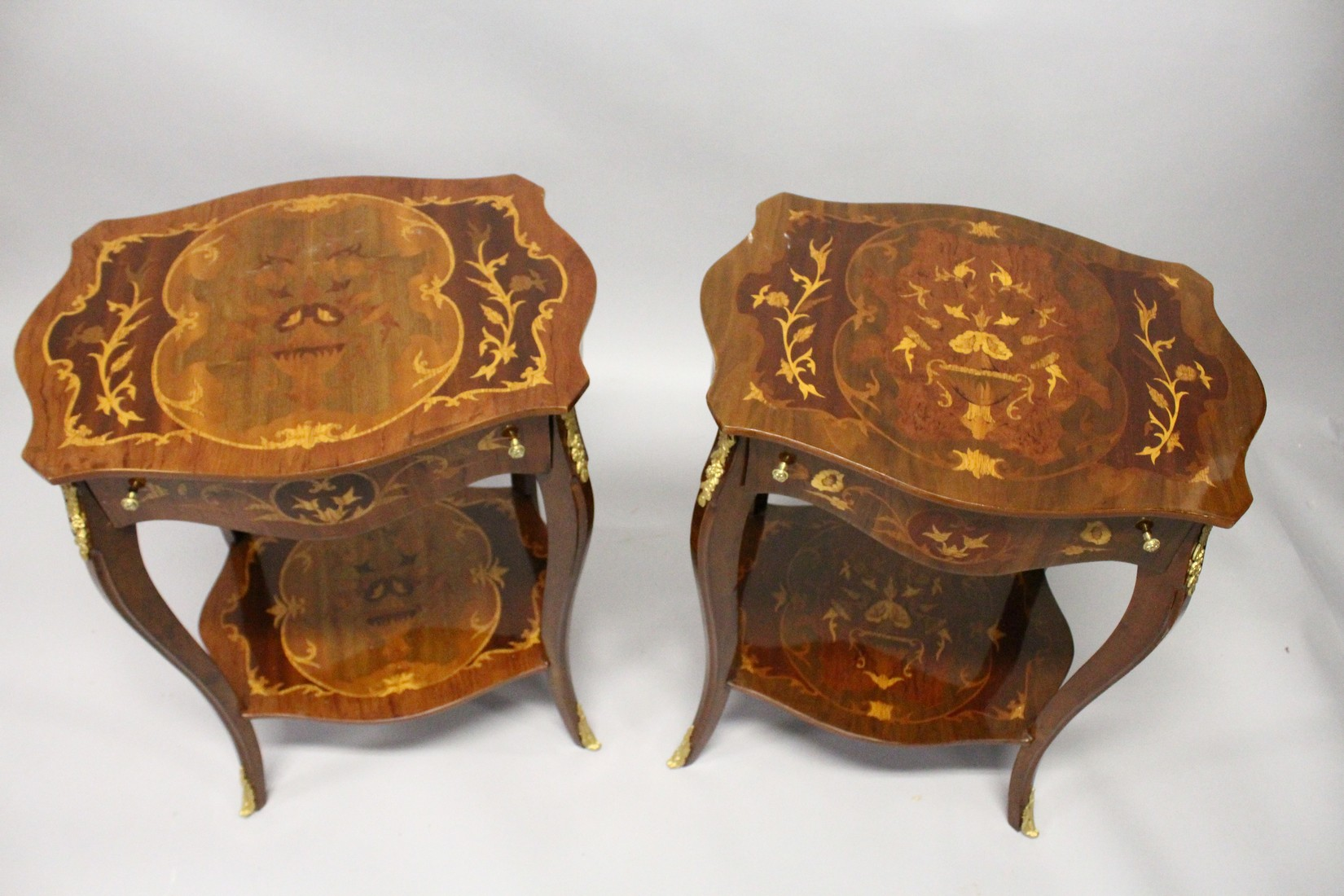 A PAIR OF FRENCH STYLE MARQUETRY INLAID TWO TIER SINGLE DRAWER SIDE TABLES, with cabriole legs 1ft - Image 2 of 2