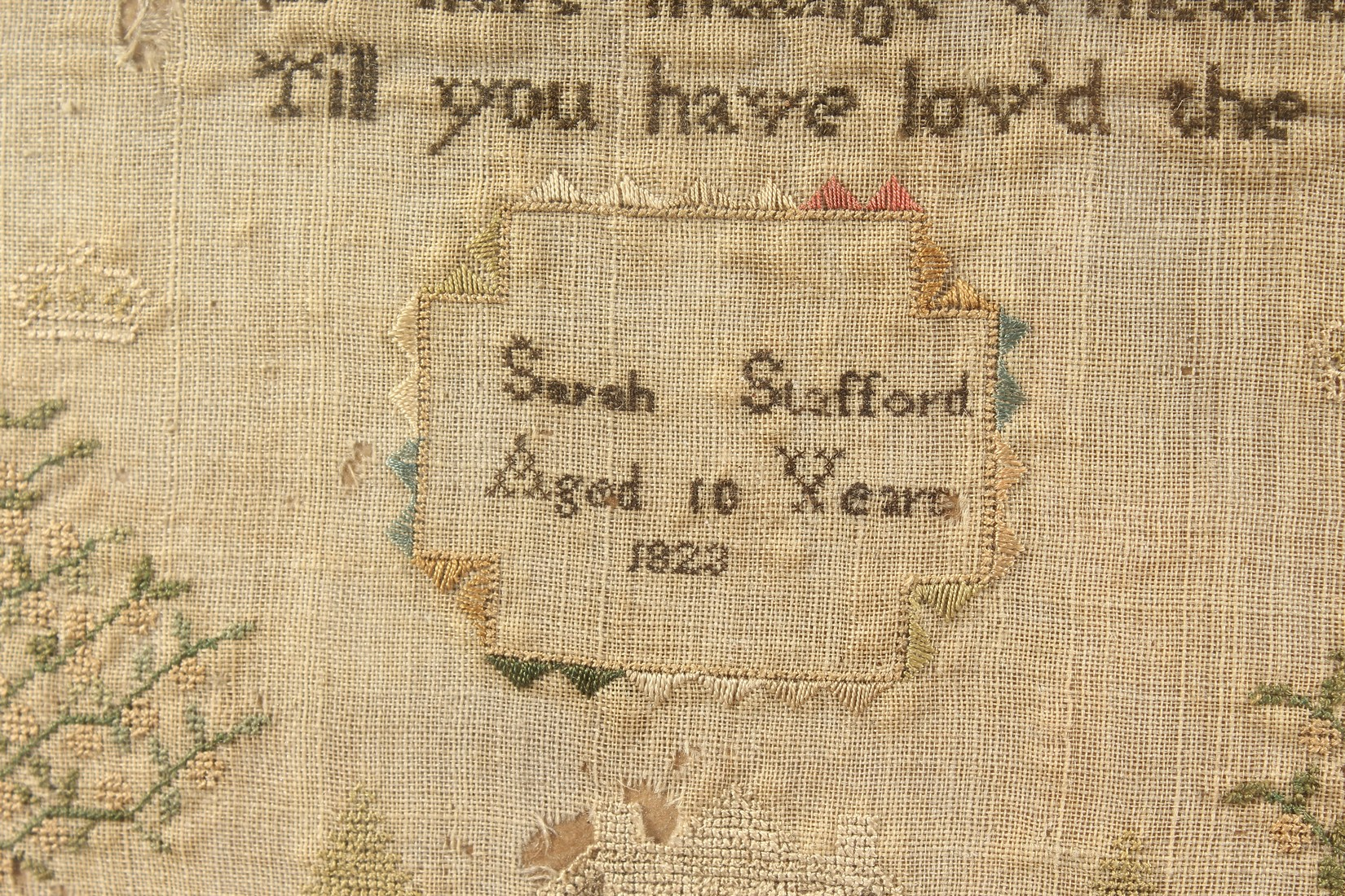 AN 1823 NEEDLEWORK SAMPLER by Sarah Stafford, age 10. 12.5ins x 5ins - Image 3 of 4